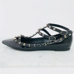 Valentino Patent Leather Rockstud Ankle Strap Flat (size 38 / fits 37.5 - 38)