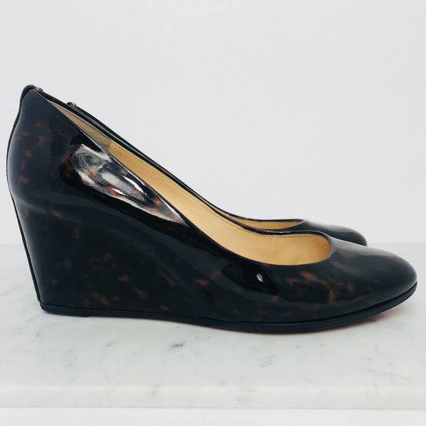 Christian Louboutin Tortoise Patent Leather Wedge 70mm (size 40 / fits 39 - 39.5)