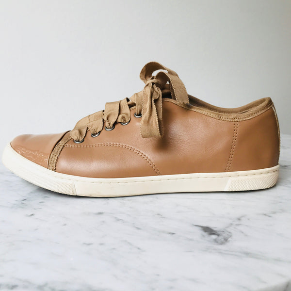 Lanvin Nude Leather Sneakers (38 / fit small)