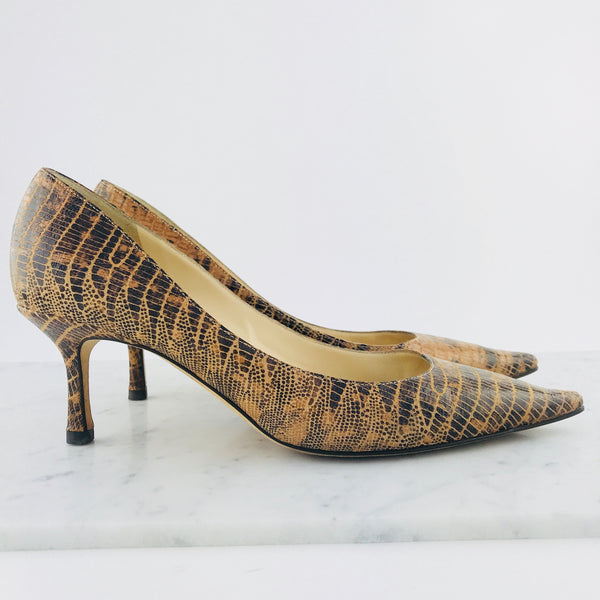 Jimmy Choo Snakeskin Embossed Kitten Heels (size 38.5 / fit 38-38.5)
