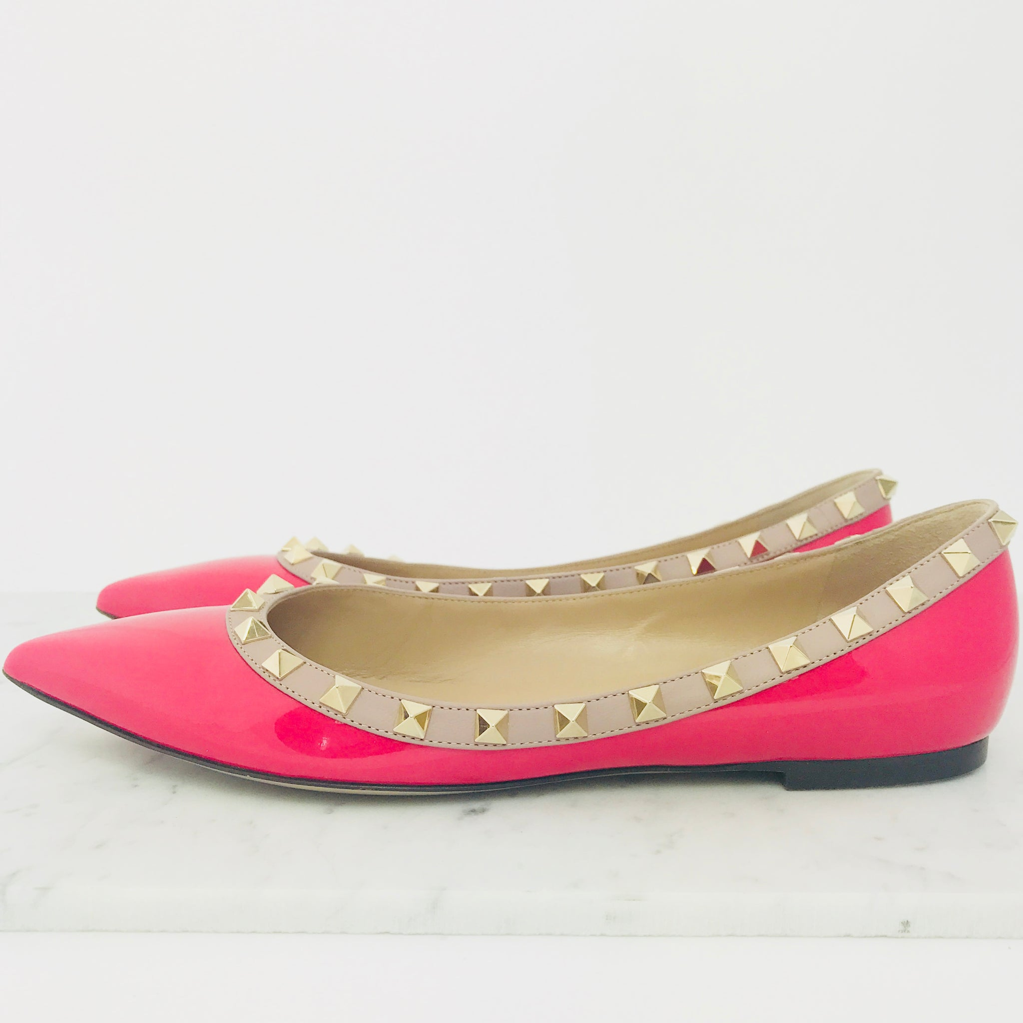 Valentino Patent Leather Rockstud Flats (size 38.5 / fit 38-38.5)