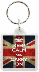 Keep Calm and Carry On Square Keyring