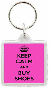 Keep Calm and Buy Shoes Square Keyring