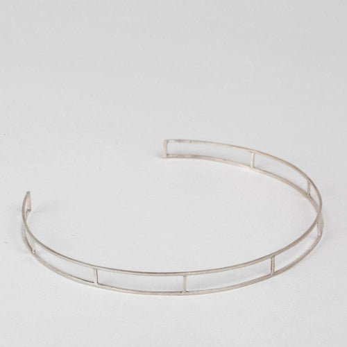 Modhemia Linear Neck Cuff Sterling Silver Collar Necklace