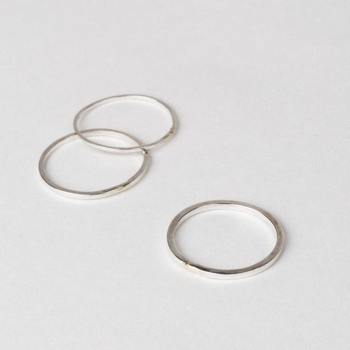 Modhemia Linear Stack Ring Set Mixed Metal Contrasting Seam
