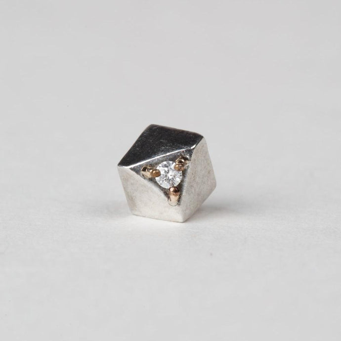 Modhemia Planar Stud Sterling Silver 14k Yellow Gold Diamond