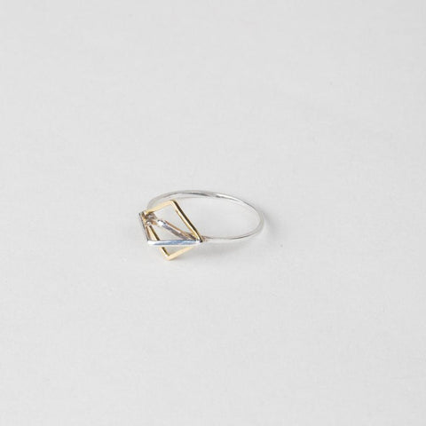 Modhemia Angle Ring Sterling Silver 14k Yellow Gold Triangles