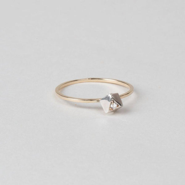 Modhemia Planar Ring Sterling Silver 14k Yellow Gold Diamond