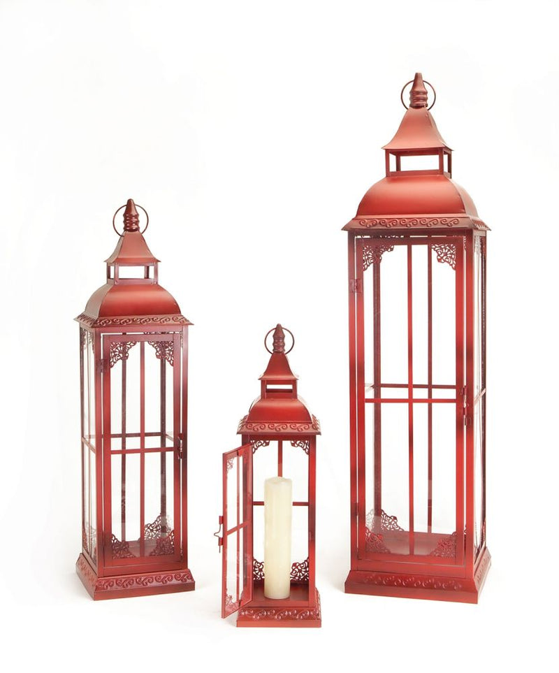 Red Lantern Set of 3 by Melrose International