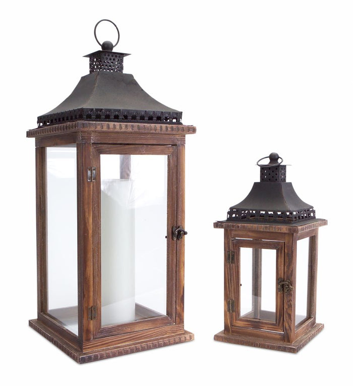 Coastal Style Brown and Black Wood Lantern Set