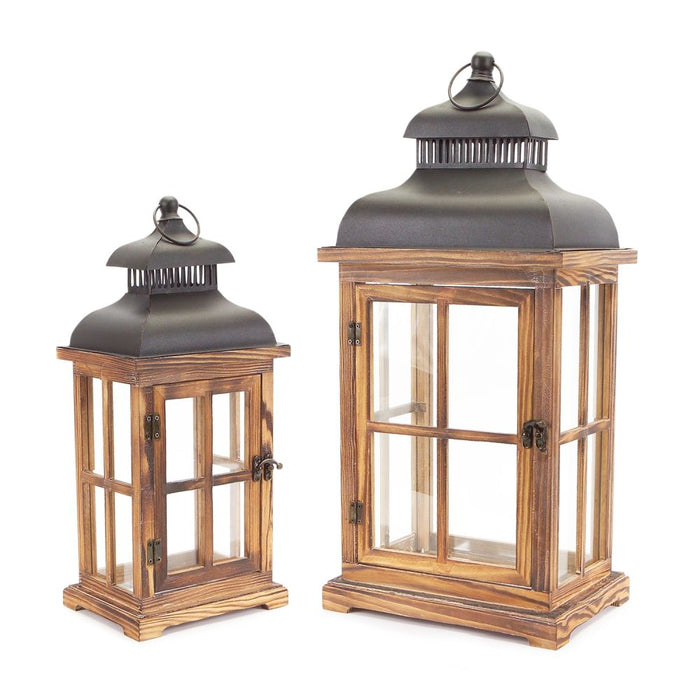Beautiful Wood Lantern Set