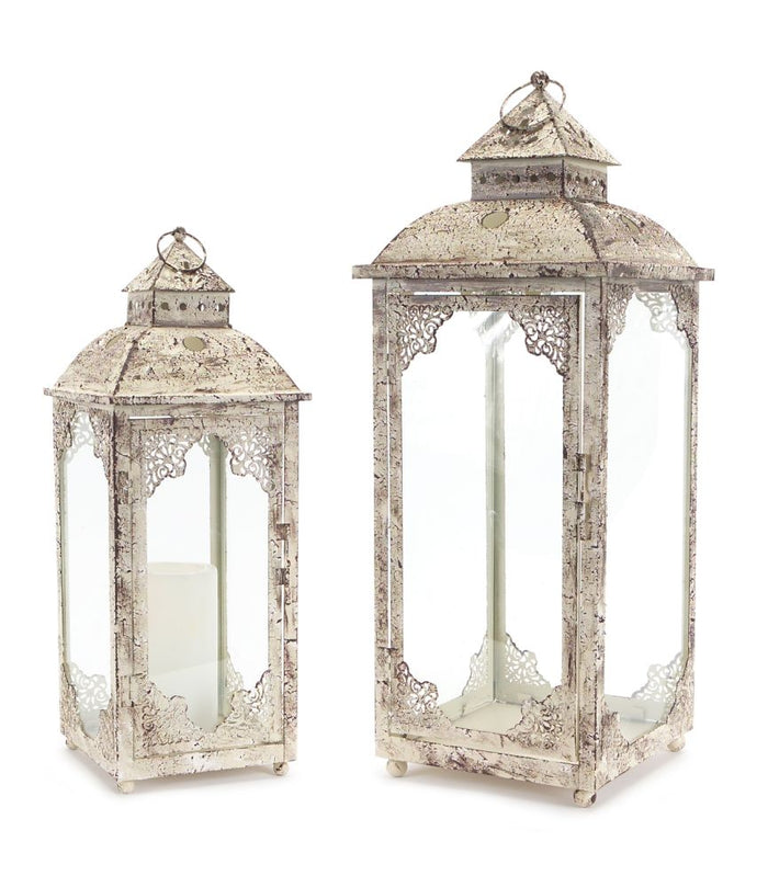 Rustic Style Distressed Lantern Set of 2