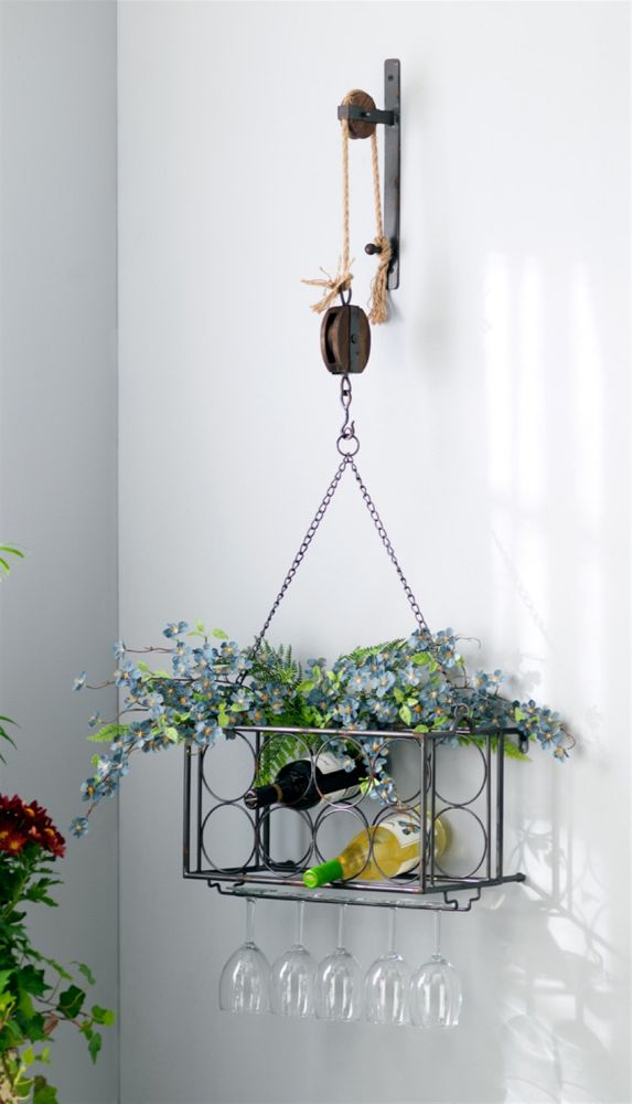Country Style Pulley Wall Mounted Wine Rack