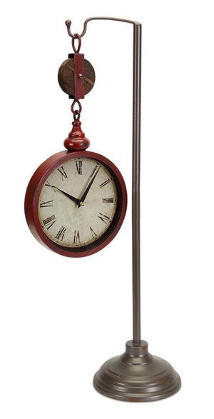 Red Pulley Clock On Stand
