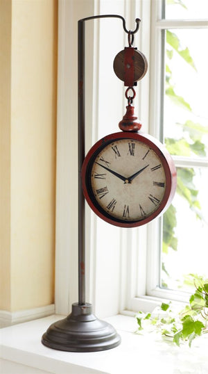 red pulley clock