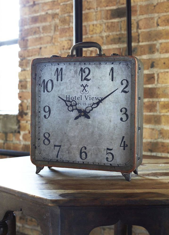 copper suitcase clock