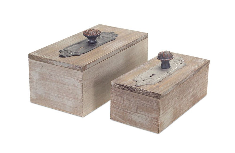 Wood Door Knob Boxes (Set of 2)