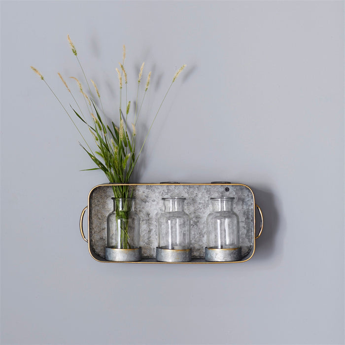 Farmhouse Tin Tray with 3 Glass Jars