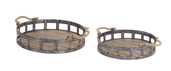 Distressed Metal and Rugged Wood Serving Trays