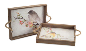 wood bird serving tray