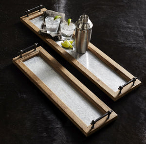 metal wood serving tray