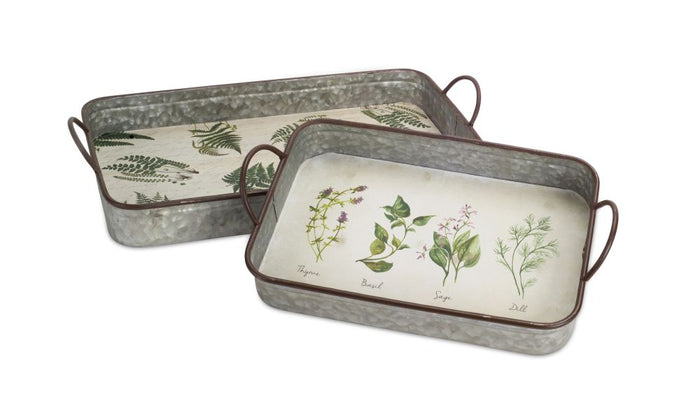 Farmhouse Style Metal Herb Tray Set of 2