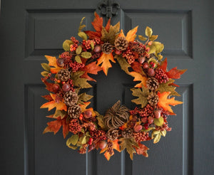 Fall Wreath with Acorns and Berries