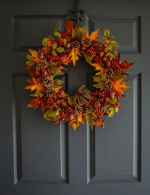 Autumn Wreath with Acorns and Berries