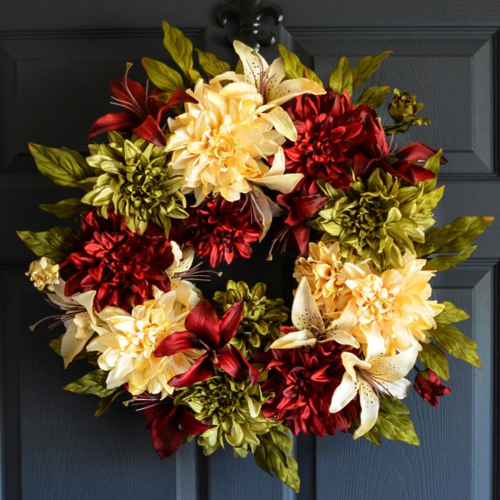 Red & Green Floral Door Wreath