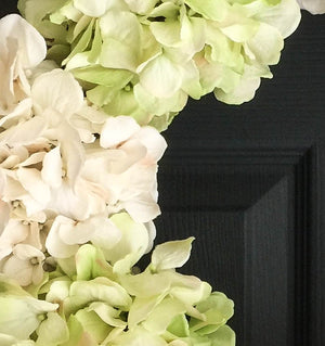 green silk hydrangea door wreath