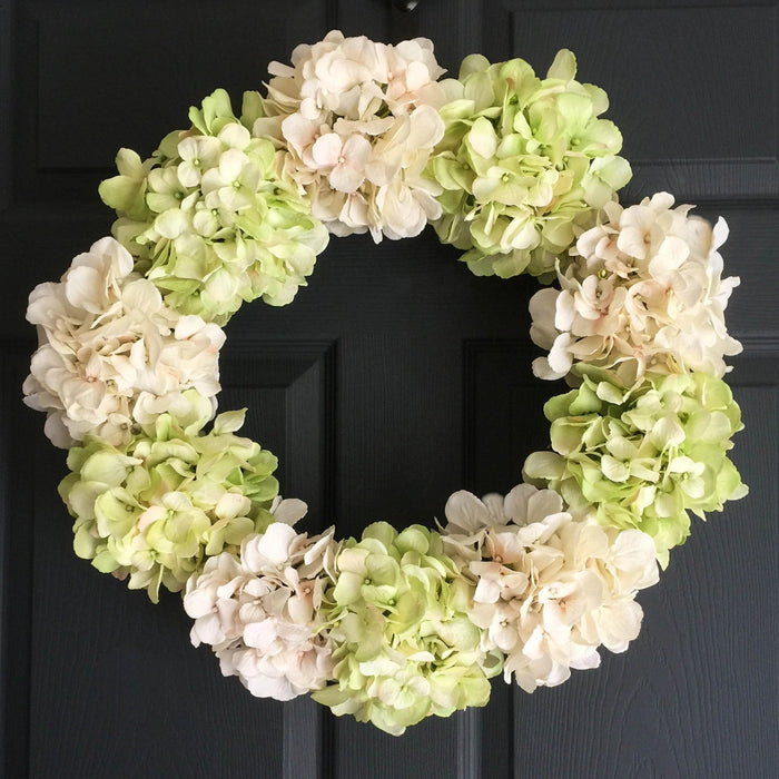 Spring Meadow Green Silk Hydrangea Door Wreath 20 in
