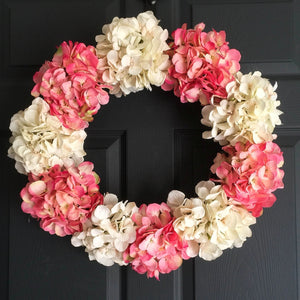 pink silk hydrangea door wreath
