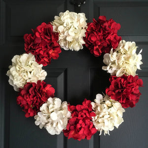 red hydrangea door wreath