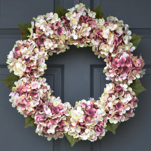 pink hydrangea door wreath