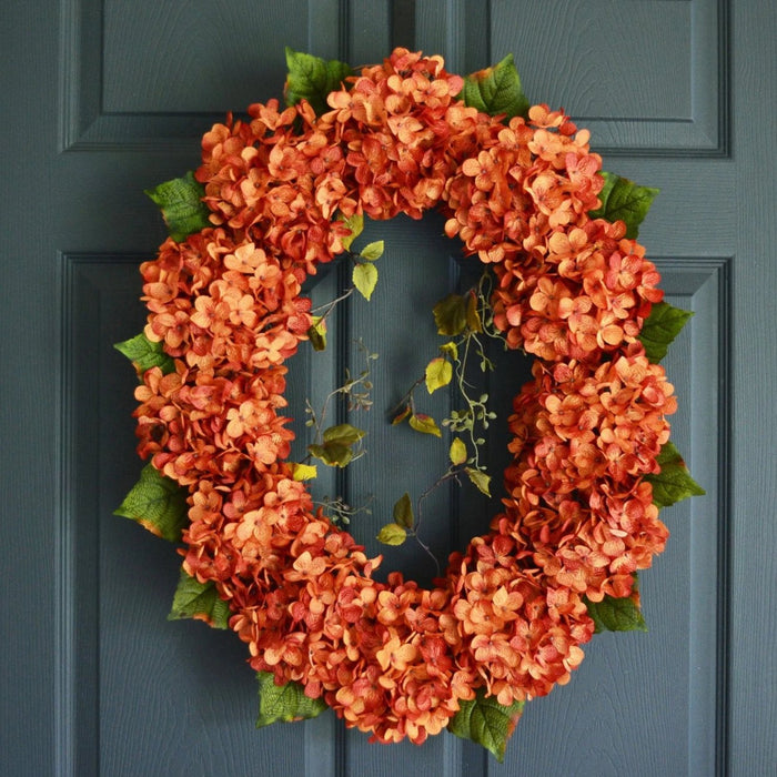 Oval Orange Hydrangea Front Door Wreath 26 in