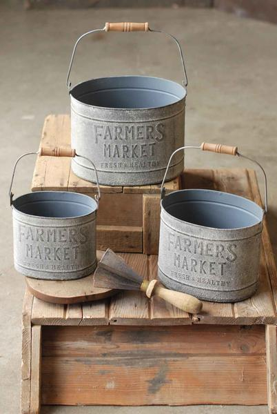 Farmer's Market Buckets | Galvanized | Set of 3