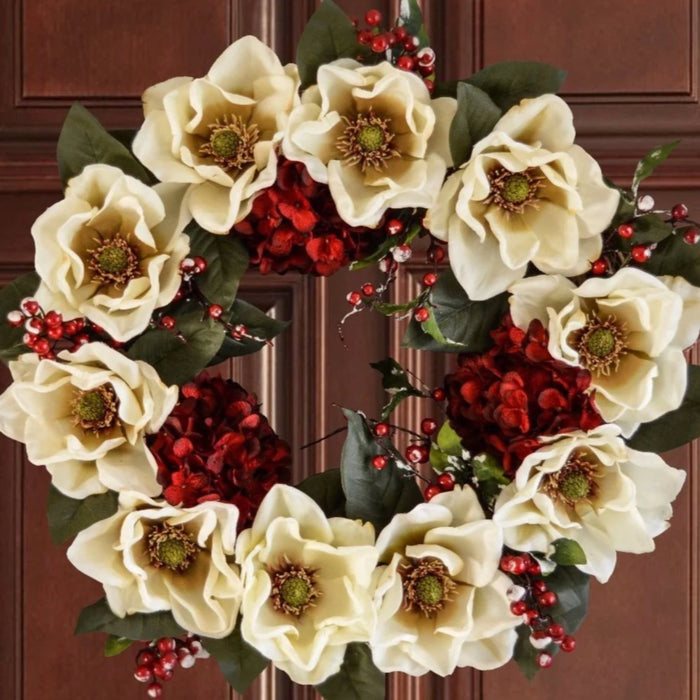 White Christmas Magnolia Door Wreath 24 in