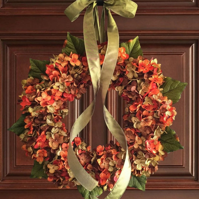 Blended Orange Front Door Hydrangea Wreath
