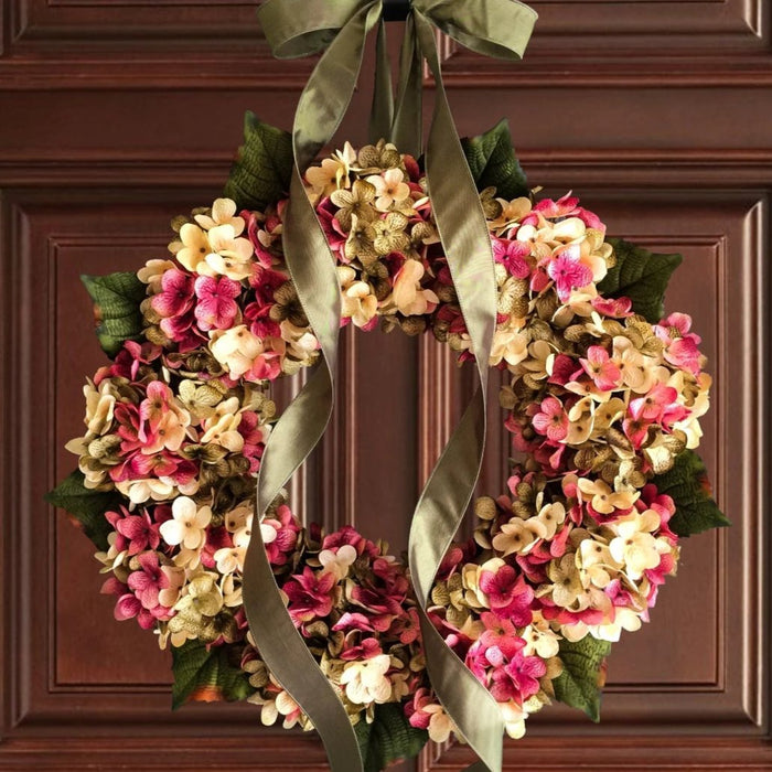 Blended Silk Hydrangea Spring Front Door Wreath
