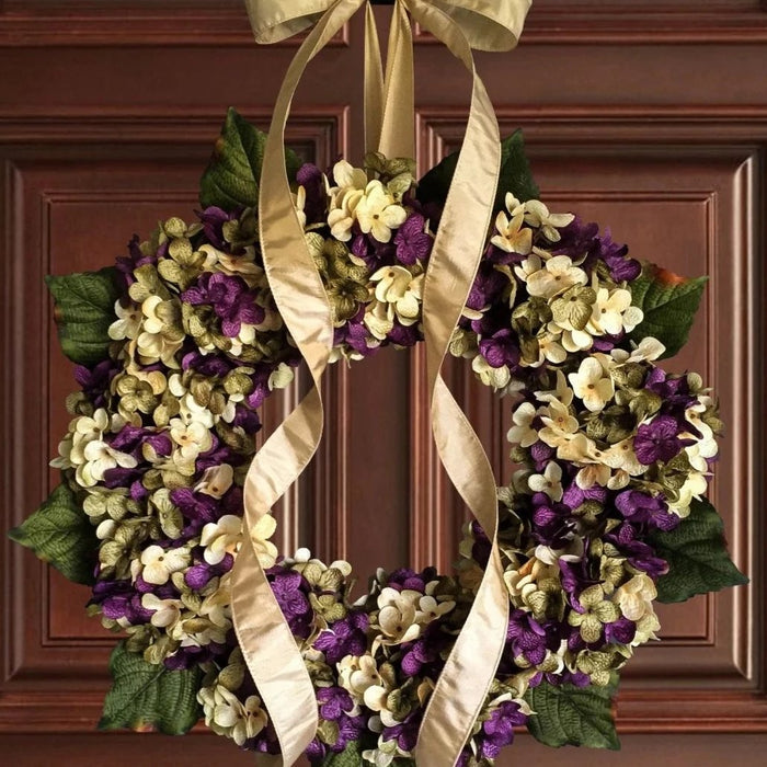 Purple Spring Hydrangea Front Door Wreath
