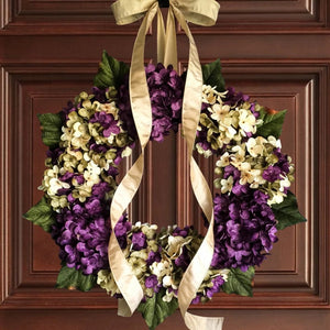 Spring Wreath, Purple Hydrangea Door Wreath