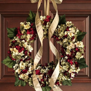 red year round front door wreath