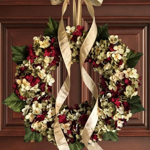 Red Hydrangea Year Round Front Door Wreath