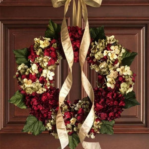 stunning red hydrangea front door wreath