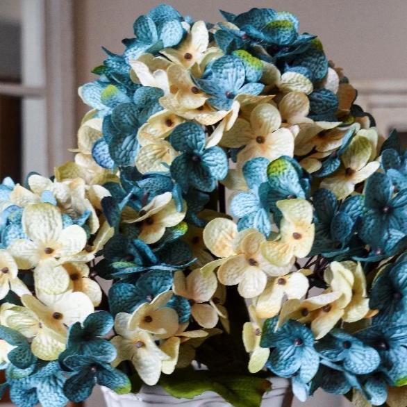Artificial Hydrangeas | Pacific Blue and Cream