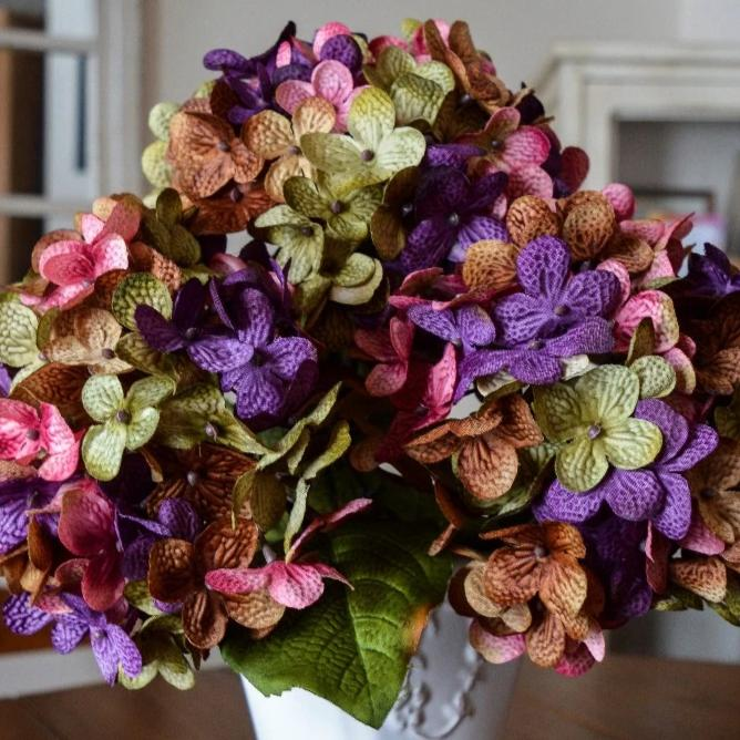 Artificial Hydrangea Flowers, Olive Green, Brown, Purple, and Rose Pink