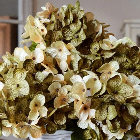 Artificial Hydrangea Flowers, Olive Green and Cream Hydrangea