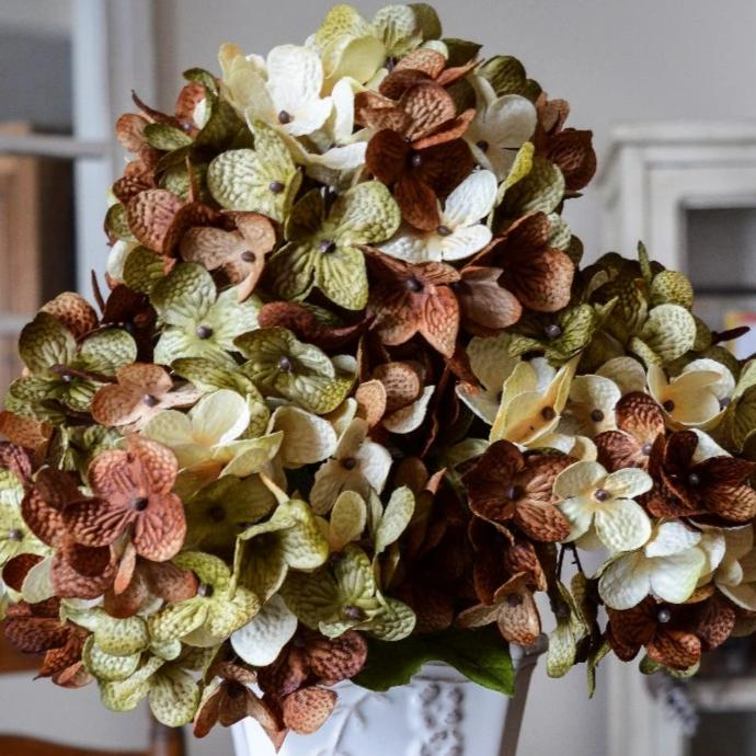 Artificial Hydrangeas | Olive Green, Cream & Coffee Bean Brown