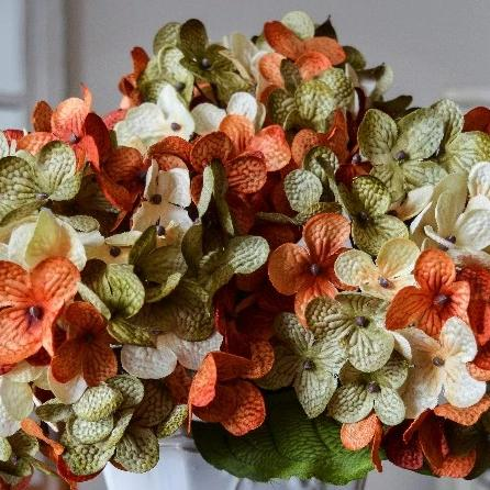 Artificial Hydrangeas | Green, Cream & Burnt Orange
