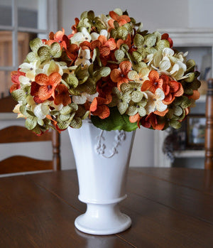 green cream orange floral stems